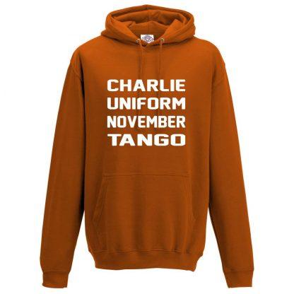 Mens C.U.N.T Hoodie - Orange, 2XL