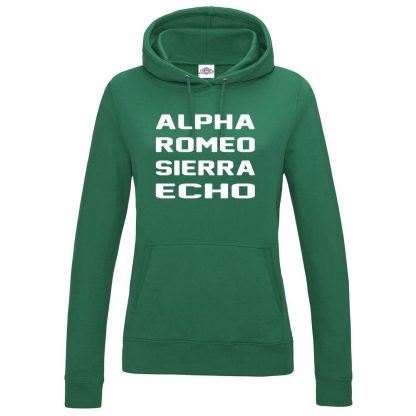 Ladies A.R.S.E Hoodie - Bottle Green, 18