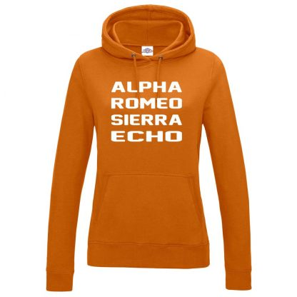Ladies A.R.S.E Hoodie - Orange, 18