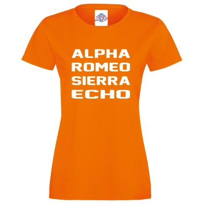 Ladies A.R.S.E T-Shirt - Orange, 18