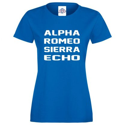 Ladies A.R.S.E T-Shirt - Royal Blue, 18