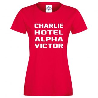 Ladies C.H.A.V T-Shirt - Red, 18