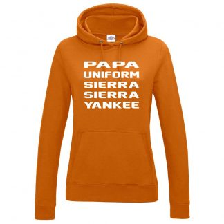 Ladies P.U.S.S.Y Hoodie - Orange, 18