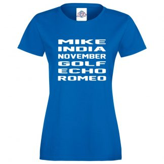 Ladies M.I.N.G.E.R T-Shirt - Royal Blue, 18