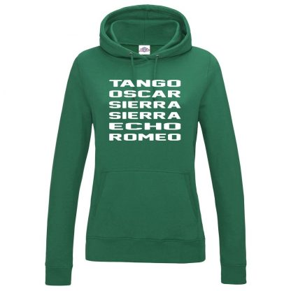 Ladies T.O.S.S.E.R Hoodie - Bottle Green, 18