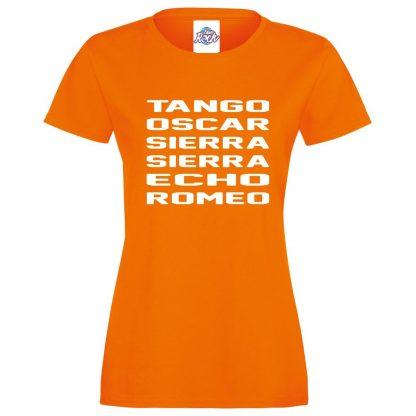 Ladies T.O.S.S.E.R T-Shirt - Orange, 18
