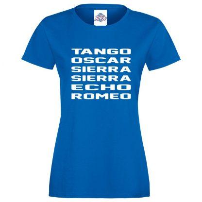 Ladies T.O.S.S.E.R T-Shirt - Royal Blue, 18