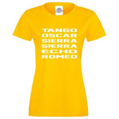 Ladies T.O.S.S.E.R T-Shirt - Yellow, 18