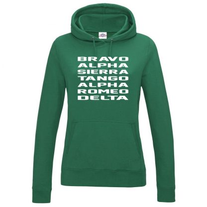 Ladies B.A.S.T.A.R.D Hoodie - Bottle Green, 18