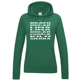 Ladies B.O.L.L.O.C.K.S Hoodie - Bottle Green, 18