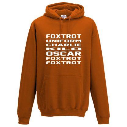 Mens F.U.C.K.O.F.F Hoodie - Orange, 2XL
