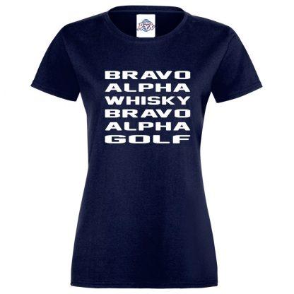 Ladies B.A.W.B.A.G T-Shirt - Navy, 18