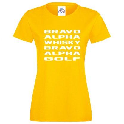 Ladies B.A.W.B.A.G T-Shirt - Yellow, 18