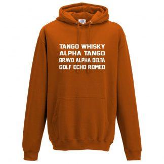 Mens T.W.A.T.B.A.D.G.E.R Hoodie - Orange, 2XL