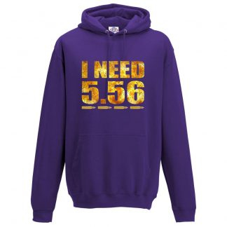Mens I NEED 5.56 Hoodie - Purple, 3XL