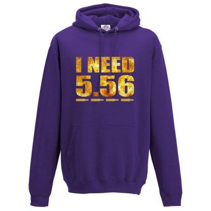 Mens I NEED 5.56 Hoodie - Purple, 3XL