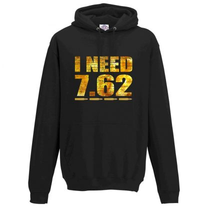 Mens I NEED 7.62 Hoodie - Black, 5XL