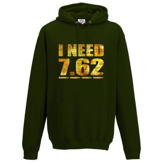 Mens I NEED 7.62 Hoodie - Forest Green, 2XL