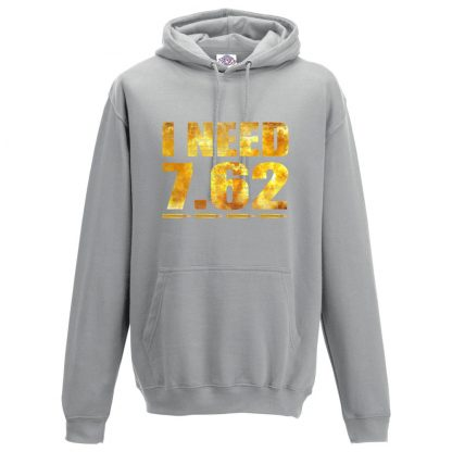 Mens I NEED 7.62 Hoodie - Charcoal, 2XL