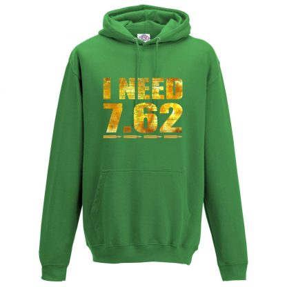 Mens I NEED 7.62 Hoodie - Kelly Green, 2XL