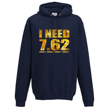 Mens I NEED 7.62 Hoodie - Navy, 5XL