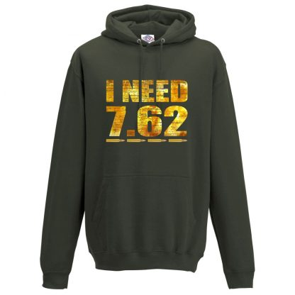 Mens I NEED 7.62 Hoodie - Olive Green, 2XL
