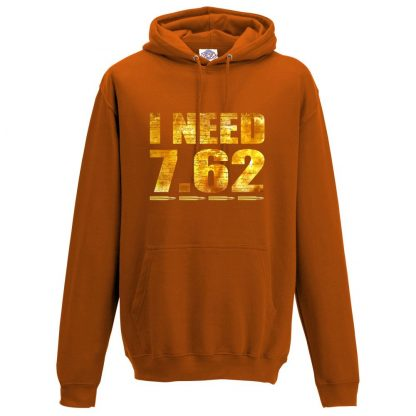 Mens I NEED 7.62 Hoodie - Orange, 2XL