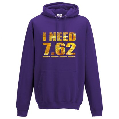 Mens I NEED 7.62 Hoodie - Purple, 3XL