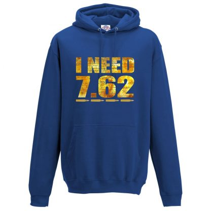 Mens I NEED 7.62 Hoodie - Royal Blue, 3XL