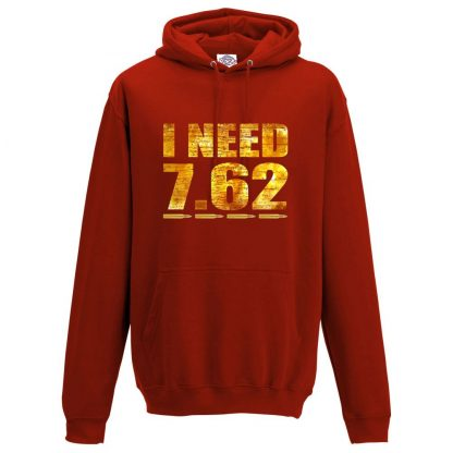 Mens I NEED 7.62 Hoodie - Red, 3XL