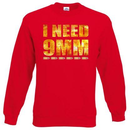 I NEED 9MM Sweatshirt - Red, 2XL