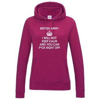Ladies ARMY KEEP CALM Hoodie - Hot Pink, 18