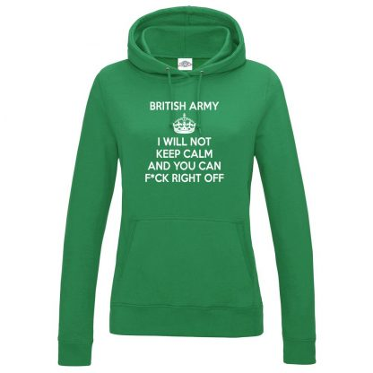 Ladies ARMY KEEP CALM Hoodie - Kelly Green, 18