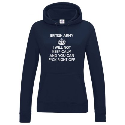 Ladies ARMY KEEP CALM Hoodie - Navy, 18
