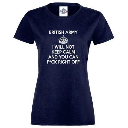 Ladies ARMY KEEP CALM T-Shirt - Navy, 18