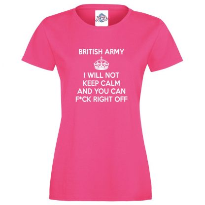 Ladies ARMY KEEP CALM T-Shirt - Pink, 18