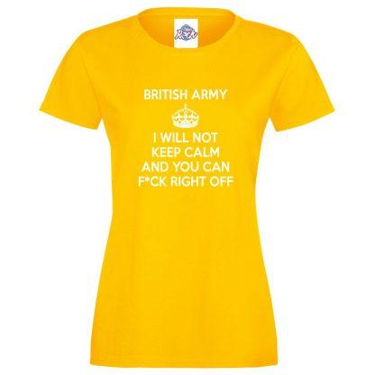 Ladies ARMY KEEP CALM T-Shirt - Yellow, 18