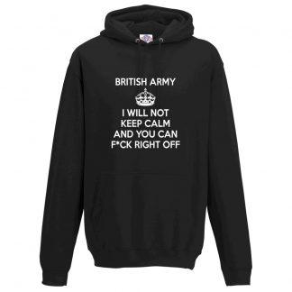 Mens ARMY KEEP CALM Hoodie - Black, 5XL