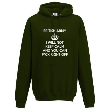 Mens ARMY KEEP CALM Hoodie - Forest Green, 2XL
