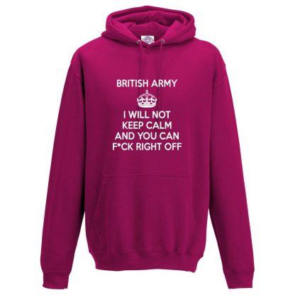 Mens ARMY KEEP CALM Hoodie - Hot Pink, 2XL