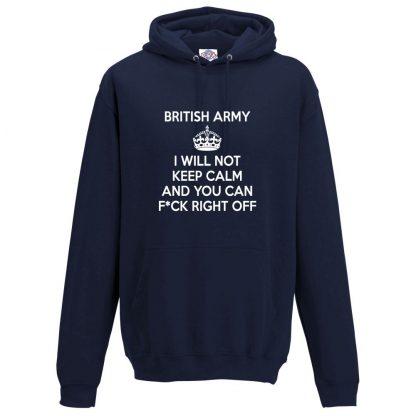 Mens ARMY KEEP CALM Hoodie - Navy, 5XL