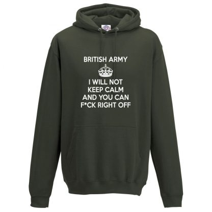 Mens ARMY KEEP CALM Hoodie - Olive Green, 2XL