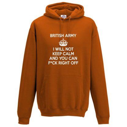 Mens ARMY KEEP CALM Hoodie - Orange, 2XL