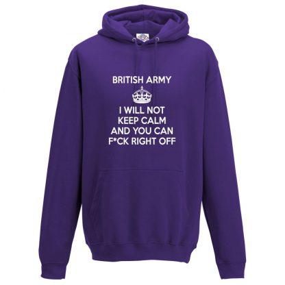 Mens ARMY KEEP CALM Hoodie - Purple, 3XL