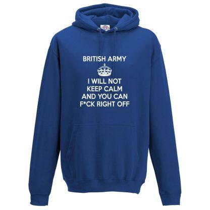Mens ARMY KEEP CALM Hoodie - Royal Blue, 3XL