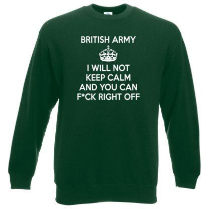 ARMY KEEP CALM Sweatshirt - Bottle Green, 2XL