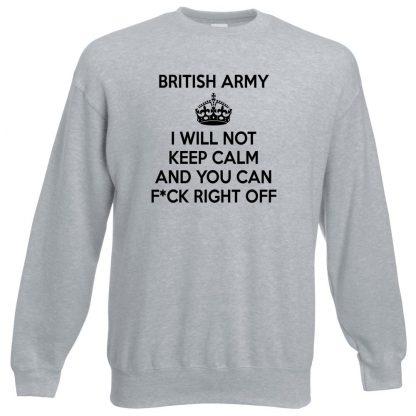 ARMY KEEP CALM Sweatshirt - Grey, 3XL