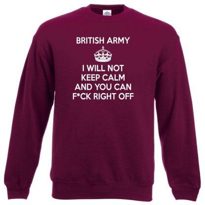 ARMY KEEP CALM Sweatshirt - Maroon, 2XL