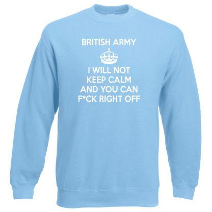 ARMY KEEP CALM Sweatshirt - Sky Blue, 2XL