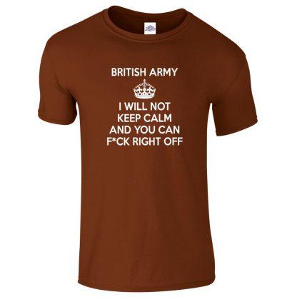 Mens ARMY KEEP CALM T-Shirt - Chestnut, 2XL